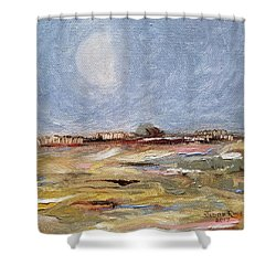 Shower Curtain featuring the painting Inevitable Epoch by Judith Rhue