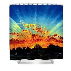 Infinite Rays From An Otherworldly Sunset Shower Curtain