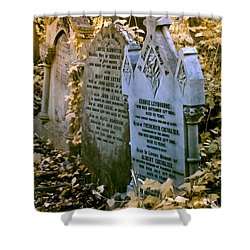 Infrared George Leybourne And Albert Chevalier's Gravestone Shower Curtain by Helga Novelli