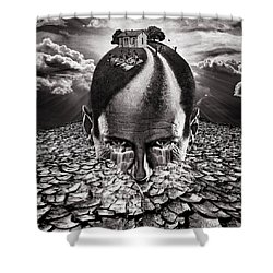 Inhabited Head Gray Scale Shower Curtain
