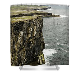 Shower Curtain featuring the photograph Inishmore Cliffs And Karst Landscape From Dun Aengus by RicardMN Photography