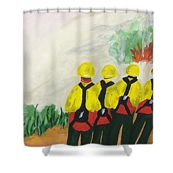 Shower Curtain featuring the painting Initial Attack by Erika Chamberlin