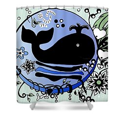 Shower Curtain featuring the drawing Ink And Pen Whale Drawing by Saribelle Rodriguez