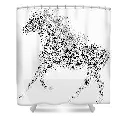Shower Curtain featuring the drawing Ink Splattered Stallion by Nick Gustafson
