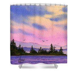 Shower Curtain featuring the painting Inland Sea Sunset by James Williamson