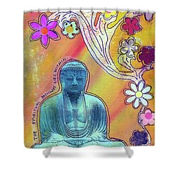 Shower Curtain featuring the mixed media Inner Bliss by Desiree Paquette