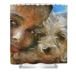 Shower Curtain featuring the painting Innocent Love by Dragica  Micki Fortuna