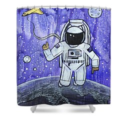 Shower Curtain featuring the painting Inquisitive Explorer by Nathan Rhoads
