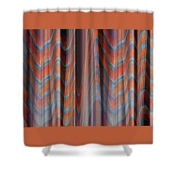 Smooth As Silk - Fabric Art - Photograph Manipulation - Aqua And Orange Shower Curtain by Brooks Garten Hauschild