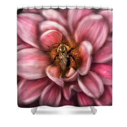 Insect - Bee - Center Of The Universe  Shower Curtain by Mike Savad