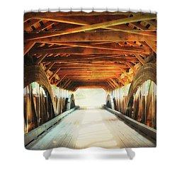 Inside A Covered Bridge Shower Curtain