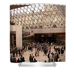 Shower Curtain featuring the photograph Inside Louvre Museum Pyramid by Mark Czerniec