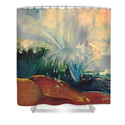Shower Curtain featuring the painting Inside Mommy's Waters by Daun Soden-Greene