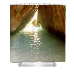Inside The Baths On Virgin Gorda Shower Curtain