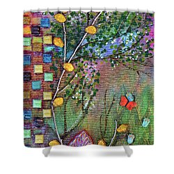 Inside The Garden Wall Shower Curtain by Donna Blackhall