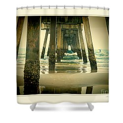 Shower Curtain featuring the photograph Inside The Pier by Linda Olsen