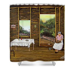 Inside Wooden Home Shower Curtain