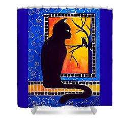 Insomnia - Cat And Owl Art By Dora Hathazi Mendes Shower Curtain by Dora Hathazi Mendes