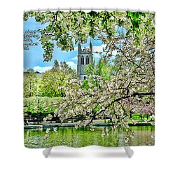 Inspirational - Cherry Blossoms Shower Curtain