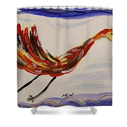 Inspired By Calder's Only Only Bird Shower Curtain by Mary Carol Williams