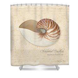 Inspired Coast Iv - Chambered Nautilus, Nautilus Pompilius Shower Curtain by Audrey Jeanne Roberts