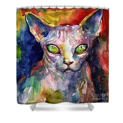 intense watercolor Sphinx cat painting Shower Curtain by Svetlana Novikova