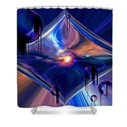 Shower Curtain featuring the digital art Interdimensional Portal by Linda Sannuti