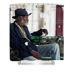 Shower Curtain featuring the photograph Interesting Cuban Gentleman In A Park On Obrapia by Charles Harden