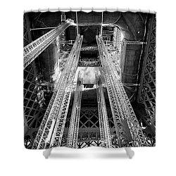 Interior Eiffel Tower Shower Curtain by John Rizzuto
