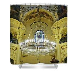 Interior Evening View Of St. Nicholas Church In Prague Shower Curtain