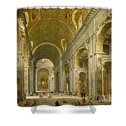 Interior Of St. Peter's - Rome Shower Curtain by Giovanni Paolo Panini