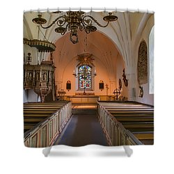 Shower Curtain featuring the photograph interior of Teda church by Leif Sohlman