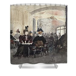 Interior Of The Concert Rouge Shower Curtain by Henri Laurent Mouren