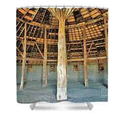 Shower Curtain featuring the photograph Interior Peter French Round Barn by Michele Penner