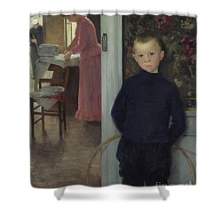 Interior With Women And A Child Shower Curtain by Paul Mathey