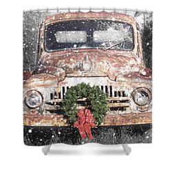International Christmas Snow Shower Curtain