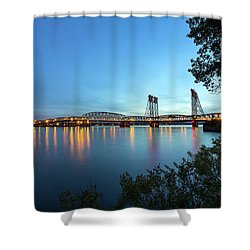 Interstate Bridge Over Columbia River At Dusk Shower Curtain by David Gn