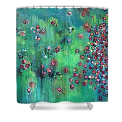 Shower Curtain featuring the painting Interstellar, I Want To Paint It Black by Laurie Maves ART