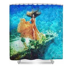 Into Deep Shower Curtain by Mo T