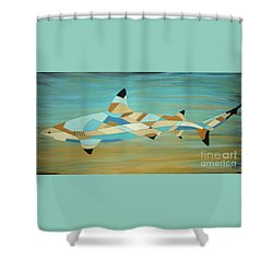 Into The Blue I Shark Painting Shower Curtain