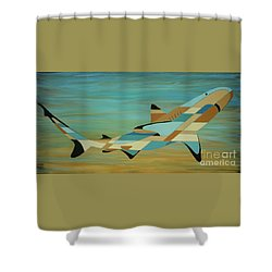 Into The Blue Shark Painting Shower Curtain