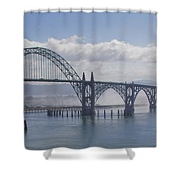 Into The Fog At Newport Shower Curtain by Mick Anderson