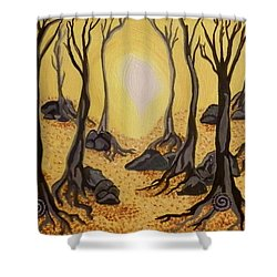 Shower Curtain featuring the painting Into The Light by Carolyn Cable