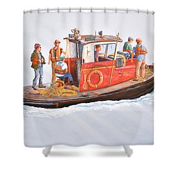 Into The Mist-the Crew Boat Shower Curtain