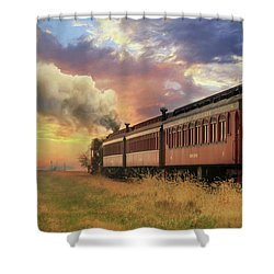 Shower Curtain featuring the mixed media Into The Sunset by Lori Deiter