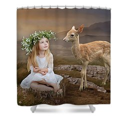 Shower Curtain featuring the mixed media Into The Wild by Marvin Blaine