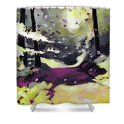 Shower Curtain featuring the painting Into The Woods 2 by Anil Nene
