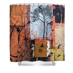 Shower Curtain featuring the mixed media Into The Woods by Pat Purdy