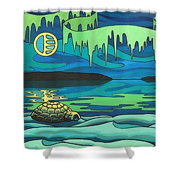 Inuit Love Arctic Landscape Painting Shower Curtain by Kim Hunter