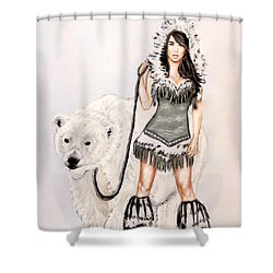 Inuit Pin-up Girl Shower Curtain